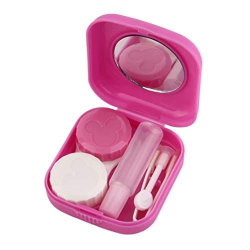 Deniseonuk Kunststoff tragbare Mini-Kontaktlinsenbehälter Outdoor-Reise-Kontaktlinsenhalter Behälter mit Spiegel Easy Carry für die Augenpflege