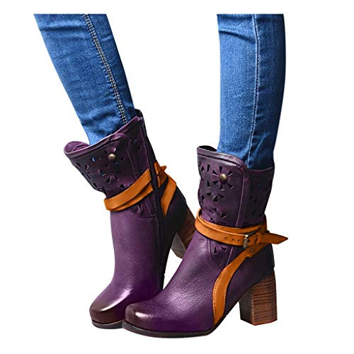 Sale!! Dainzuy Women's Ankle Booties Buckle High Heel Hollow Motorcycle Boot Winter Retro Belt Fashi...