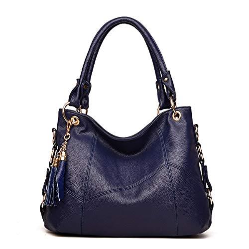 Tisdaini® Bolsos de mano Mujer Bolsos bandolera Moda Cuero suave Bolsos totes Shoppers y bolsos de hombro Azul marino