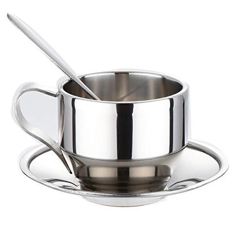 Uheng Isolierte Kaffeetasse mit Untertasse und Löffel, Edelstahl, doppelwandig, Espressotasse, Latte, Cappuccino, Teetassen, 125 ml, wiederverwendbar und spülmaschinenfest, 4er-Set