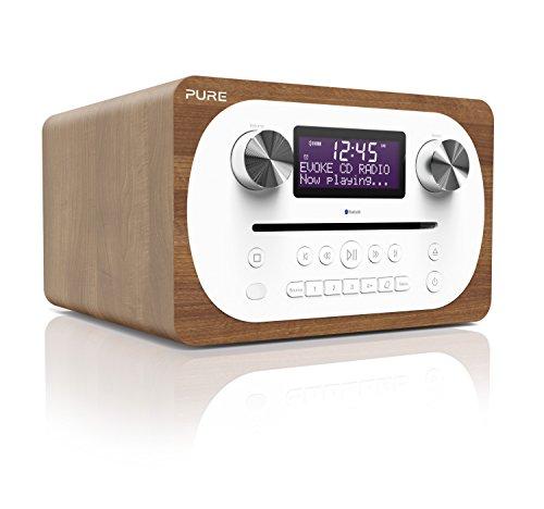 Pure Evoke C-D4 All-in-One-Musikanlage mit Bluetooth (CD, DAB/DAB+, Digitalradio, UKW-Radio, Internetradio, Bluetooth, Weckfunktionen und Sleep-Timer, 20 Senderspeicherplätze, AUX), Walnuss