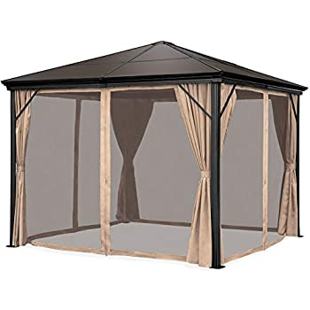 Best Choice Products 10x10ft Hardtop Gazebo Outdoor Aluminum Canopy for Backyard Patio Garden w/Side Curtains Mosquito Netting Zippered Door