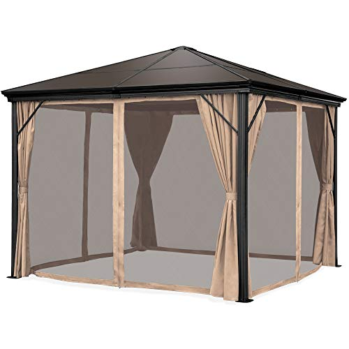 Best Choice Products 10x10ft Hardtop Gazebo, Outdoor Aluminum Canopy for Backyard, Patio, Garden w/Side Curtains, Mosquito...