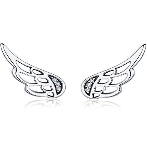 Presentski Pendientes de tuerca con diseño de alas de ángel, de plata de ley y circonita cúbica, para niñas
