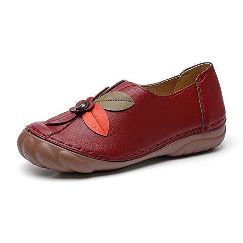 MaQyq Zapatos Perezosos De Color Redondo con Punta Redondos De La Flor Retro, Zapatos De Moda Planos De Moda Ligero Transpirable Cómodo Antideslizante Resistente Al Desgaste Y Plegable,Rojo,40