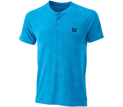 Wilson M Power Seamless Henley Camiseta, Hombre, Coastal Blue, 2XL