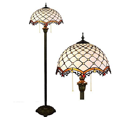 GUOSHUCHE Lámpara de pie 16 pulgadas moderna mediterránea blanca vintage vidrieras salón comedor dormitorio lámpara de pie bronce decoración