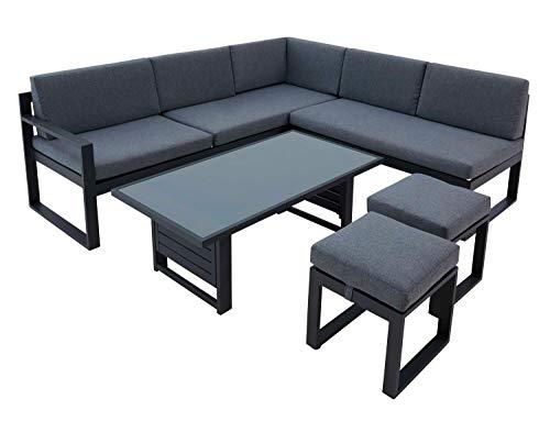 Nicht Zutreffend Set di mobili da giardino, 5 pezzi, in alluminio, acciaio, grigio antracite, con funzioni, cuscino incluso