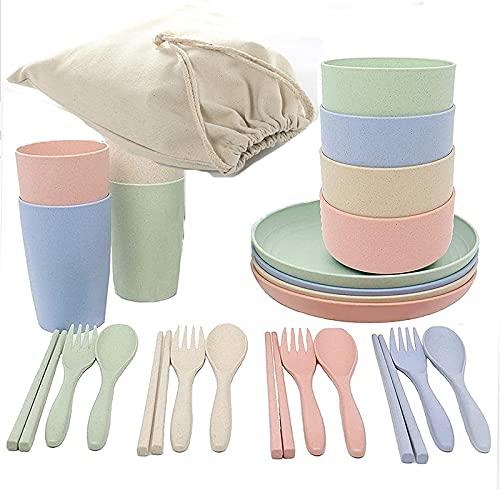 Zay Luay Conjuntos de vajilla de Paja de Trigo de 4, tazones, Tazas, Platos, Palillos, Tazas, Platos, Palillos, Horquillas, cucharas, microondas y lavavajillas.