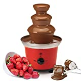 Global Gourmet Belgian Chocolate Fountain Fondue Large Set | 500ml Capacity Electric 3-Tier Machine with Hot Melting Pot Base | 2 Adjustable Settings and Keep Warm Function