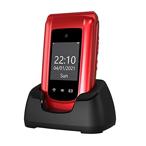 """Uleway GSM Telefono Cellulare per Anziani, Telefono Cellulare a Conchiglia con Tasti Grandi Volume Alto Funzione SOS Base di Ricarica Doppio Schermo di Visualizzazione (1,77"""" e 2,4"""") - Rosso"""