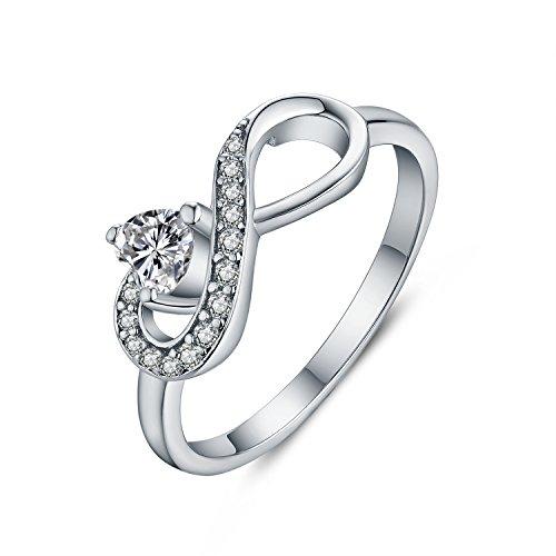 JO WISDOM Damen-Ring 925 Sterling Silber Infinity Unendlichkeit Geburtsstein Ring Herz schliff AAA Zirkonia (April,Cubic Zirkonia Farbe, 50 (15.9))