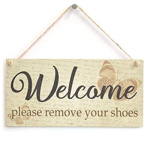 """Welcome Please Remove Your Shoes - Butterfly Themed Shabby Chic Home Decor Sign 10"""" X 5""""(25x12.5 cm)"""