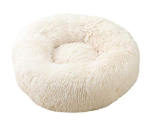 Milopon Pet Bed for Cats and Dogs Cat Bed Round Plush Fluffy Dog Bed Dog Sofa Donut Soft Washable Cat Sofa Size and Colour Optional