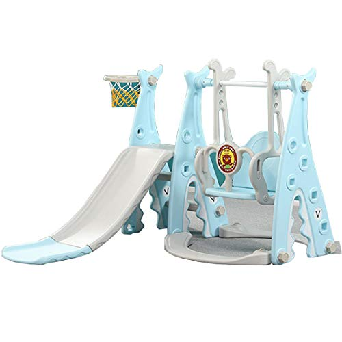 RUXINGGU 4 en 1 Juego de Columpio y Escalada para niños con aro de Baloncesto extraíble, tobogán Largo, Escalera de...