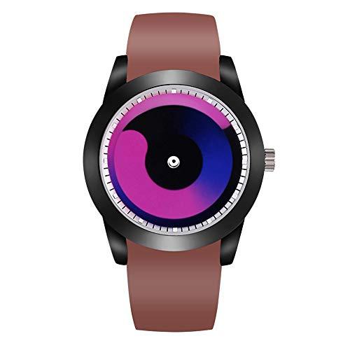 Armbanduhren Kreative Quarzuhr-Student Männliche Sportpersönlichkeit Zeigerfreie Vortex-Uhr Kaffee Mit Weißem Gesichtsrot