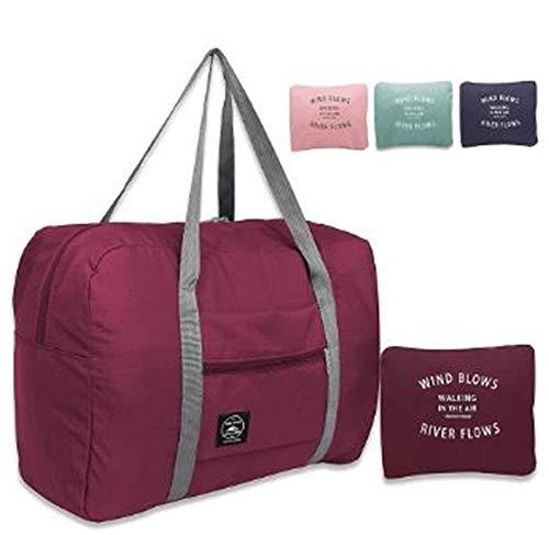 【WIND BLOWS】折りたたみ ボストンバッグ トートバッグ キャリーバッグ オン サブバッグ スーツケースの持ち手に通せる 大容量 折り畳み式 簡易 予備バッグとして大活躍 マリンスタイル (折りたたみボストン, 【赤】)