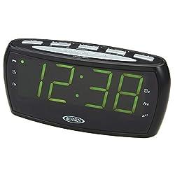 Jensen JCR-208A AM/FM Alarm Clock Radio with 1.8-Inch Green LED Display , Black