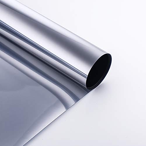 Coavas Spiegelfolie Sonnenschutzfolie, Selbstklebende Fensterfolie, Wärmeschutzfolie für Fenster UV-Schutz, Silber, 60x200cm