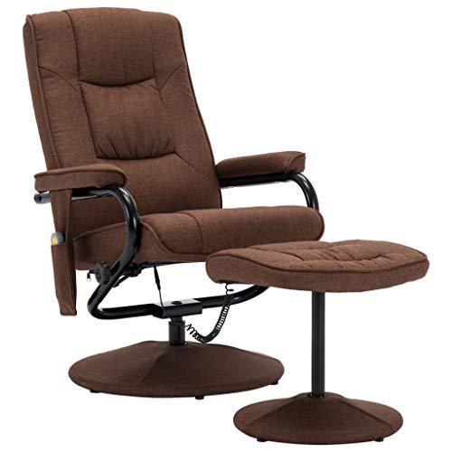 vidaXL Massagesessel mit Fußhocker Wärmefunktion Relaxsessel Fernsehsessel TV Sessel Liegesessel Polstersessel Ruhesessel Braun Stoff