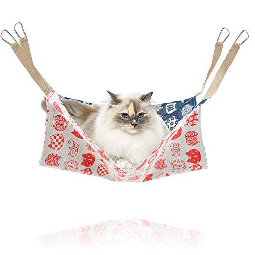 猫 ハンモック ペットハンモック 「 選べる5種類 47×47cm 耐荷重7kg 」 はんもっく ねこ フェレット 小動物 ペット用ハンモック ゲージ用 オールシーズン ハンモックベッド 猫用品 ペット用品 丸洗い可能 【N.M.JAPAN】 (Aタイプ)