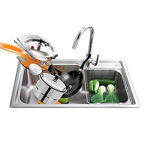 Fregaderos de Cocina de Acero Inoxidable, lavamanos Individuales, lavavajillas para el hogar, Cocina de Gran Capacidad bajo Contrario (Color : Silver, Size : 75 * 45 * 23cm)