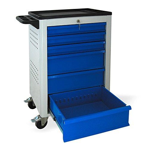 Werkstattwagen mit Rollen, BASIC-Serie, 6 Schubladen 3×80 mm 3×160 mm grau/blau (RAL 7035/5015), abschließbar, Rollwagen/Werkzeugwagen mit Rollen - 3