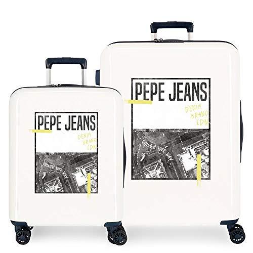 Pepe Jeans Nolan Juego de Maletas Blanco 55/70 cms Rígida ABS Cierre TSA Integrado 119,4L 7,1 kgs 4 Ruedas Dobles Equipaje de Mano