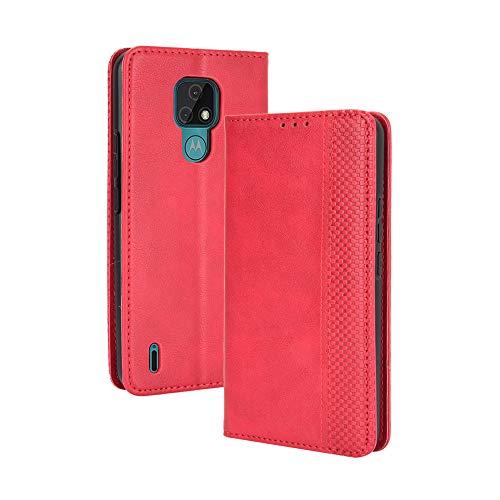 GOGME Leder Hülle für Motorola Moto E7 Hülle, Premium PU/TPU Leder Folio Hülle Schutzhülle Handyhülle, Flip Hülle Klapphülle Lederhülle mit Standfunktion und Kartensteckplätzen, Rot