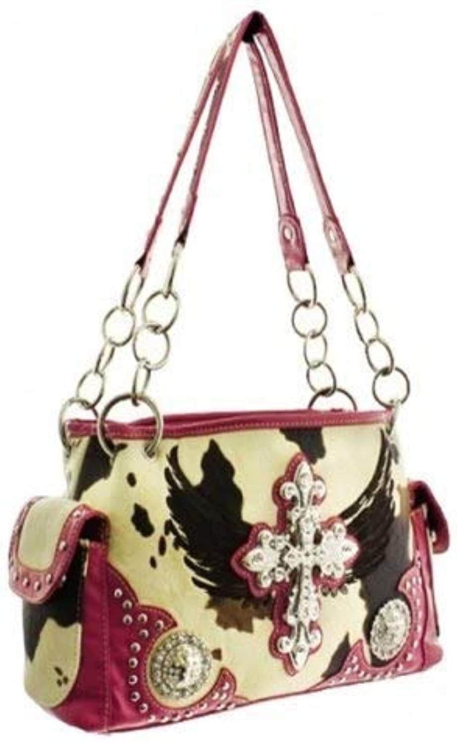 HBM Pink Western Cowprint Cross & Wing Purse