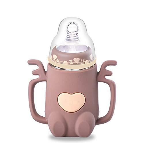 SPAWX Babyflasche Glasmaterial Antiverbrühungsgriff Auslaufsicheres Design Muttermilchflasche Kinder-Wasserbecher Für Kinder geeignet 240 ml (51998745),Brown