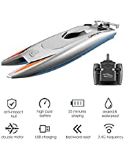 Extaum RC Boats for Kids Adult 25KM/H High Speed Racing Boat 2 Channels Remote Control Boats for Pools Racing Boat