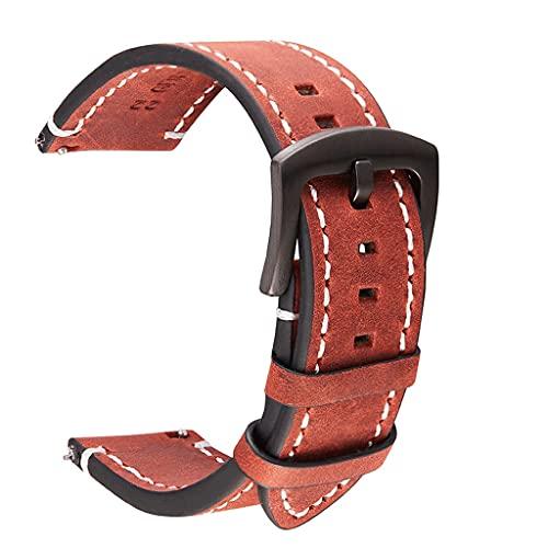 SSMDYLYM Correa de Reloj de Cuero Genuino Negro Azul Gris marrón Correa de Reloj de Cuero de Vaca Mujeres Hombres 18mm 20mm 22mm 24mm Pulsera (Color : Red, Size : 22mm)