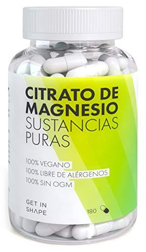 CITRATO DE MAGNESIO – 180 cápsulas altamente dosificadas (dosis diaria de 301,5mg de citrato de magnesio) de Get In Shape