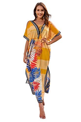 Landove Vestido Hombros Descubiertos Mujer Camisolas y Pareos Indios Bohemio Chic Tunica Piscina Caftan Africano Kaftan Etnico Kimono Flores Ropa Hawaiana Traje de Baño Playa Bikini Cover Up