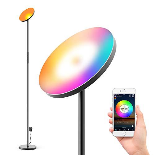 Mezone Lámpara de pie LED de 24 W con RGB, temperatura de color y brillo regulable sin niveles, compatible con Alexa y Google Assistant para salón, dormitorio, oficina