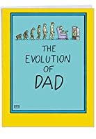Evolution of Dad父の日ユーモア用紙カード 1 Jumbo Father's Day Card & Enve. (J0352)