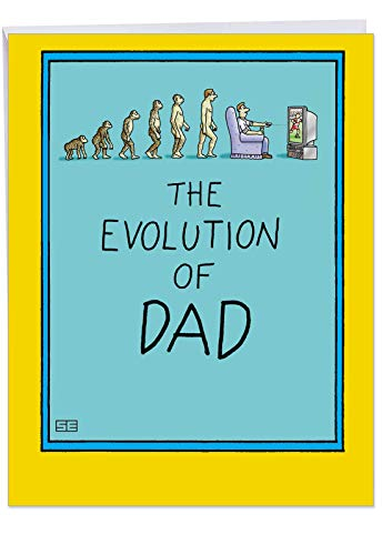 Funny 8.5 x 11 Inch Father's Day Card with Envelope - 'Evolution of Dad' - You Have Come a Long Way - Appreciation Gift to Dad and Fathers from Daughter, Son, Siblings (Extra Large) J0352