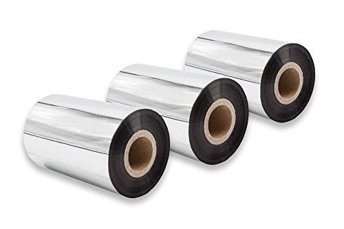 vhbw 3X Thermo-Folie Thermotransferband schwarz 100mm passend für Fax Drucker Printronix T4M, T5204, T5206, T5208, T5306, T5308