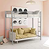 CASART 3FT High Bed with Twin Ladders and Safety Guardrail, High Sleeper & Household Space Saver, Metal Bunk Bed Loft Frame for Boys Girls Teens Kids Bedroom Dorm