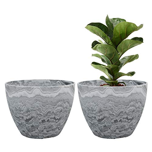 Flower Pot Large Garden Planters 11.3 Inches Pack 2 Outdoor Indoor, Outdoor Planters with Drain Hole (Marble)