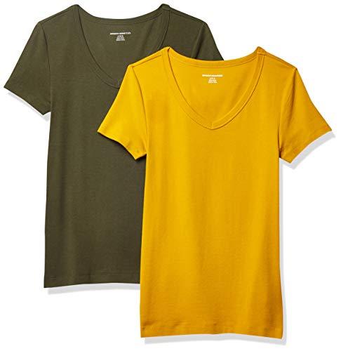Amazon Essentials Damen fashion-t-shirts 2-pack Slim-fit Short-sleeve V-neck T-shirt, Gold/Olivgrün, Large (40-42)