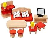 Goki 51716 Accesorio para casa de muñecas Juego de Muebles - Accesorios para Casas de muñecas (Juego de Muebles, Play Dollhouse, Madera,, 3 año(s), 390 g)