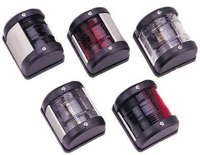 Saarwebstore LED-Positionslaterne, 12V, LED 0,54W, weiß oder schwarzes Gehäuse Positionslicht für alle Bootsrichtungen Navigationslaternen Farbe Schwarz, Größe Licht grün/rot 2X 112,5°