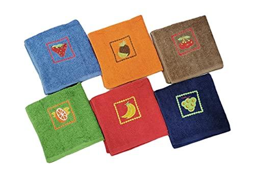 HCT Pack 6 PAÑOS Cocina Rizo - Paños de Cocina Rizo (50x50cm) Bordados y ribeteados - Fabricados en 100% algodón Rizo - Absorbentes y duraderos - Colores Surtidos (Frutas)