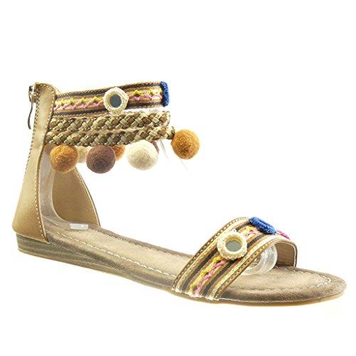 Angkorly - Damen Schuhe Sandalen - Offen - Bommel - Multi-Zaum - Geflochten Blockabsatz 1.5 cm - Beige F134A-10 T 39