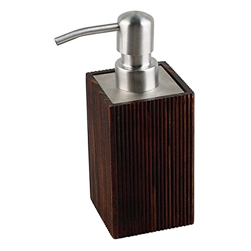 SANIMIX Edler brauner Seifenspender Lotionspender aus Holz - Badaccessoires Design Wood