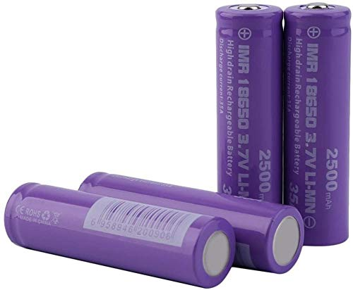 Lukytot 4 Pcs Pilas Recargables 18650 Litio Lones Batería 3.7V 2500mah Capacidad 35 Amp Baterías de Litio Células Acumuladoras para Linterna LED Antorcha Timbre de Puerta Púrpura
