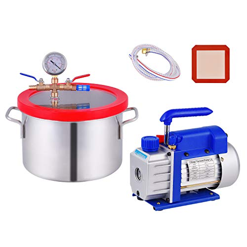 1.5 Gallon Vacuum Chamber, Heavy Duty Stainless Steel Degassing Chamber Kit with 3 CFM 1/4HP Single Stage Vacuum Pump (3CFM Vacuum Pump Without Oil + 1.5Gallon Vacuum Chamber Not for Stabilizing Wood)