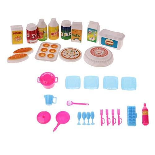 SGerste Casa de muñecas en miniatura Accesorios de cocina Alimentos y Vajilla Set para Barbie Doll Toys